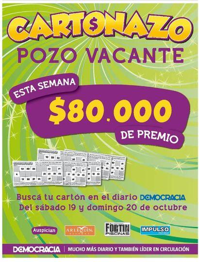 El Cartonazo quedó vacante y ahora el premio es de 80 mil pesos