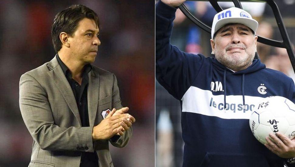 Marcelo Gallardo y Diego Maradona.