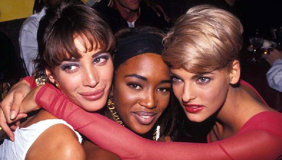Naomi Campbell en sus inicios como modelo junto a Christy Turlington y Linda Evangelista (Barry Talesnick.