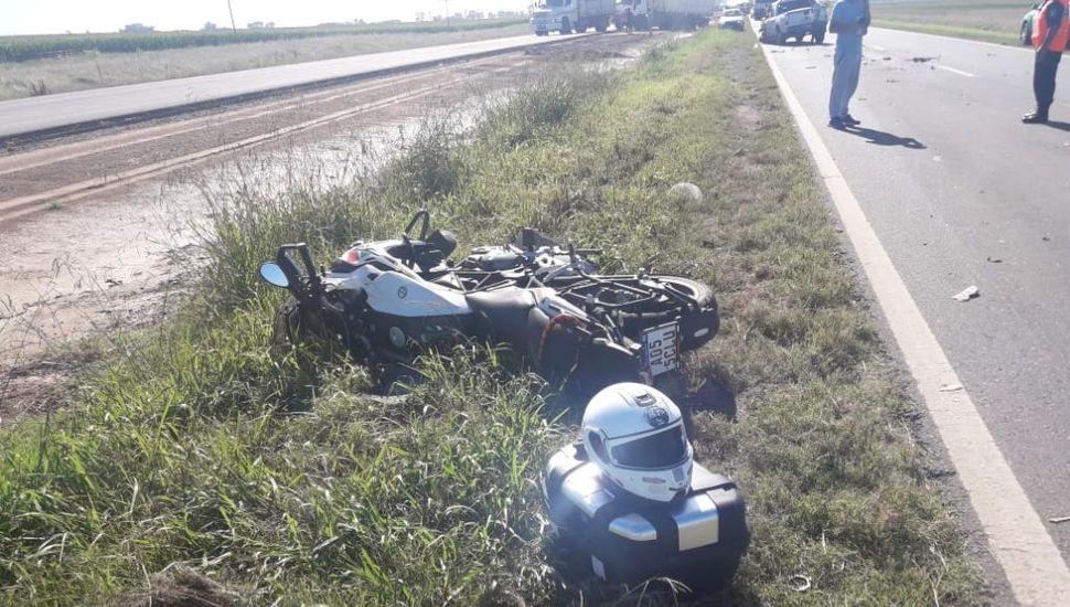Accidente en Ruta 7: un motociclista de Junín quedó internado en Chacabuco