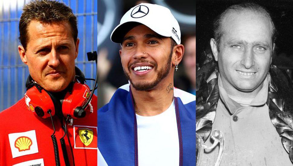 Michael Schumacher, Lewis Hamilton y Juan Manuel Fangio.