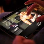 Branded Content Marketing hub web design shown on iPad