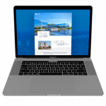 Investment Bank website design shown on a Macbook Pro