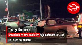 Carambola de tres vehículos deja daños materiales en Paseo del Mineral
