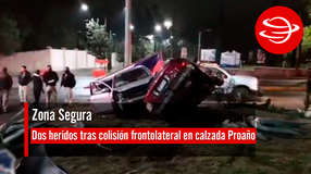 Dos heridos tras colisión frontolateral en calzada Proaño