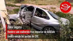 Hombre sale malherido tras impactar su vehículo contra uno de los postes de CFE