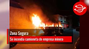Se incendia camioneta de empresa minera