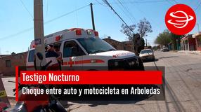 Choque entre auto y motocicleta en Arboledas