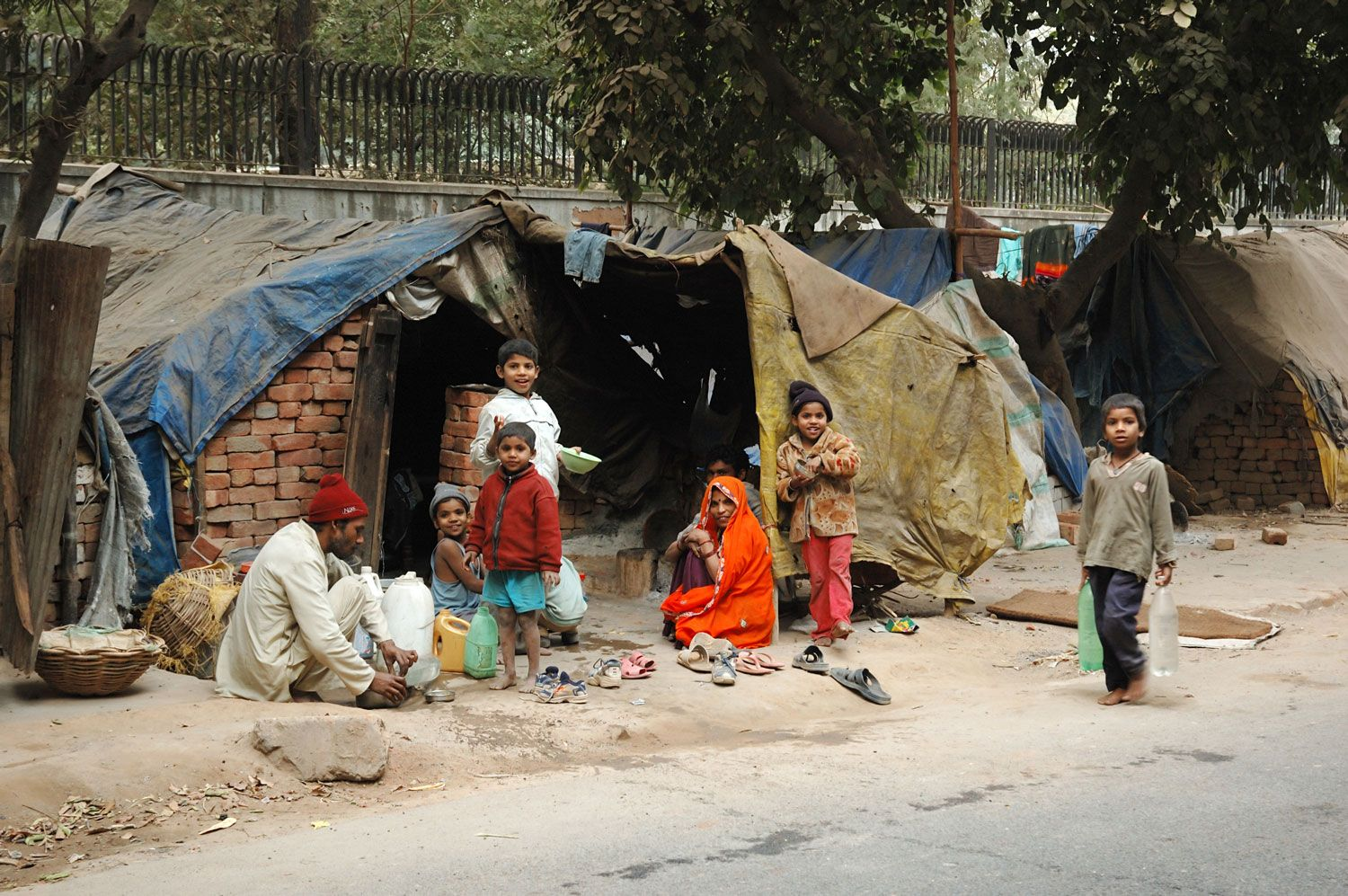 Living in poverty.