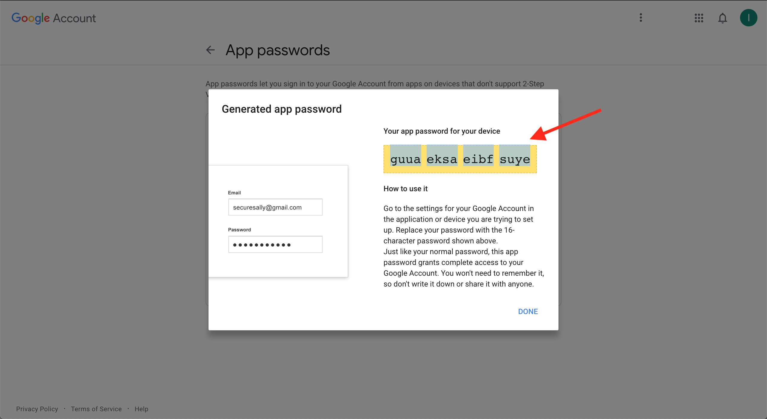Select and copy the generated password