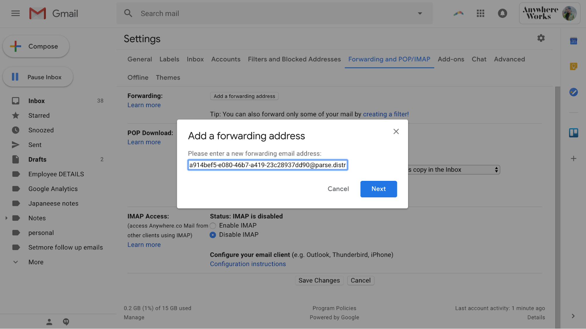 Forwarding address copy from gmail