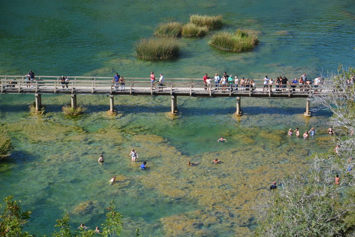 Zwemmen in het nationaal park van Krka