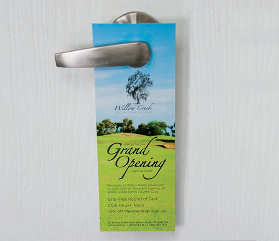 Door hanger for a golf club on a doorknob.