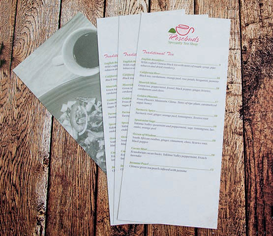 A pile of rack cards for a tea room.