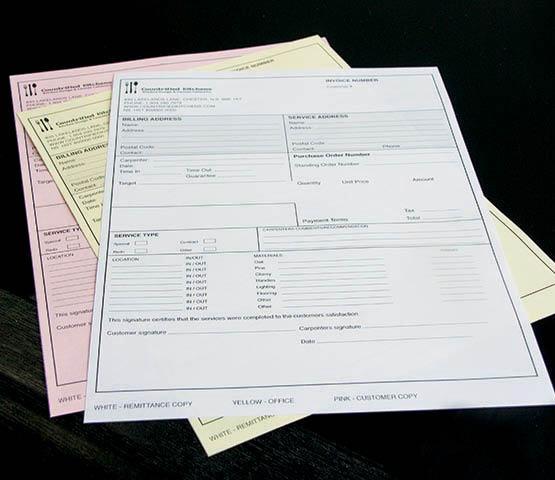 Three-part NCR forms for Countrified Kitchens.