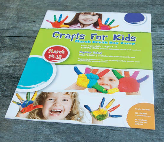 Colourful flyer for Crafts for Kids.