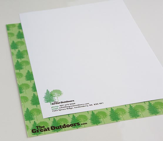 Letterhead for The Great Outdoors.
