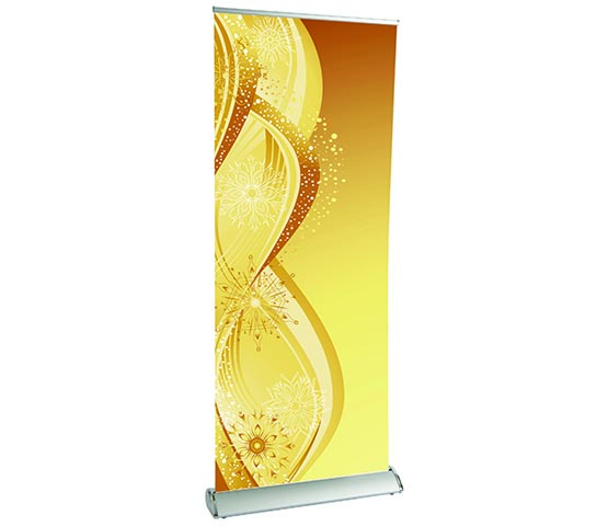 Pull up display in a Premium banner stand.