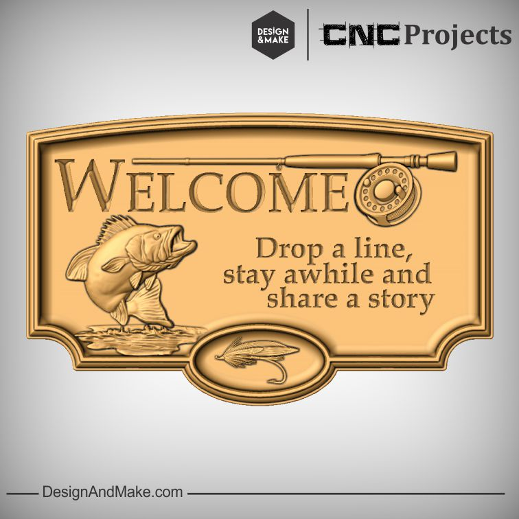 fishing themed WELCOME sign, featuring a jumping bass (free clipart model included with your Vectric Software),