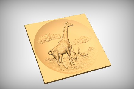 Giraffe and Antelope Scene