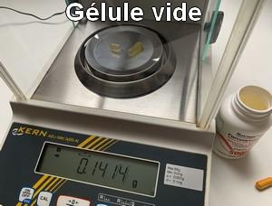 Poids d'une gélule vide