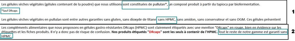 gélules sans HPMC