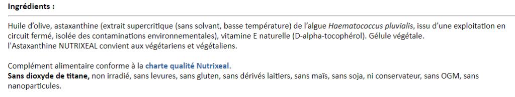 Ingrédients de la Vitaxanthine Nutrixeal