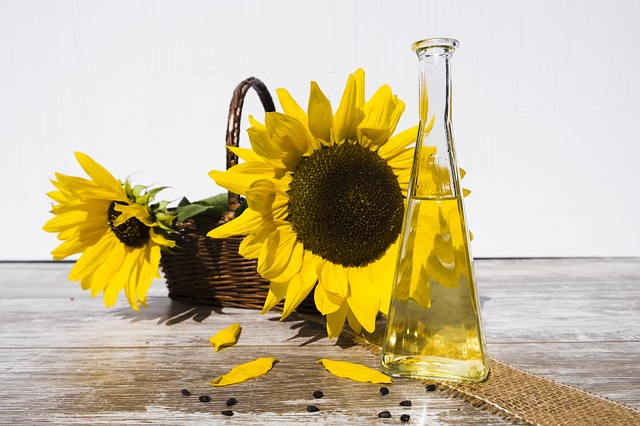 Huile et fleurs de tournesol : l'acide linoléique est présent en abondance dans certains aliments.