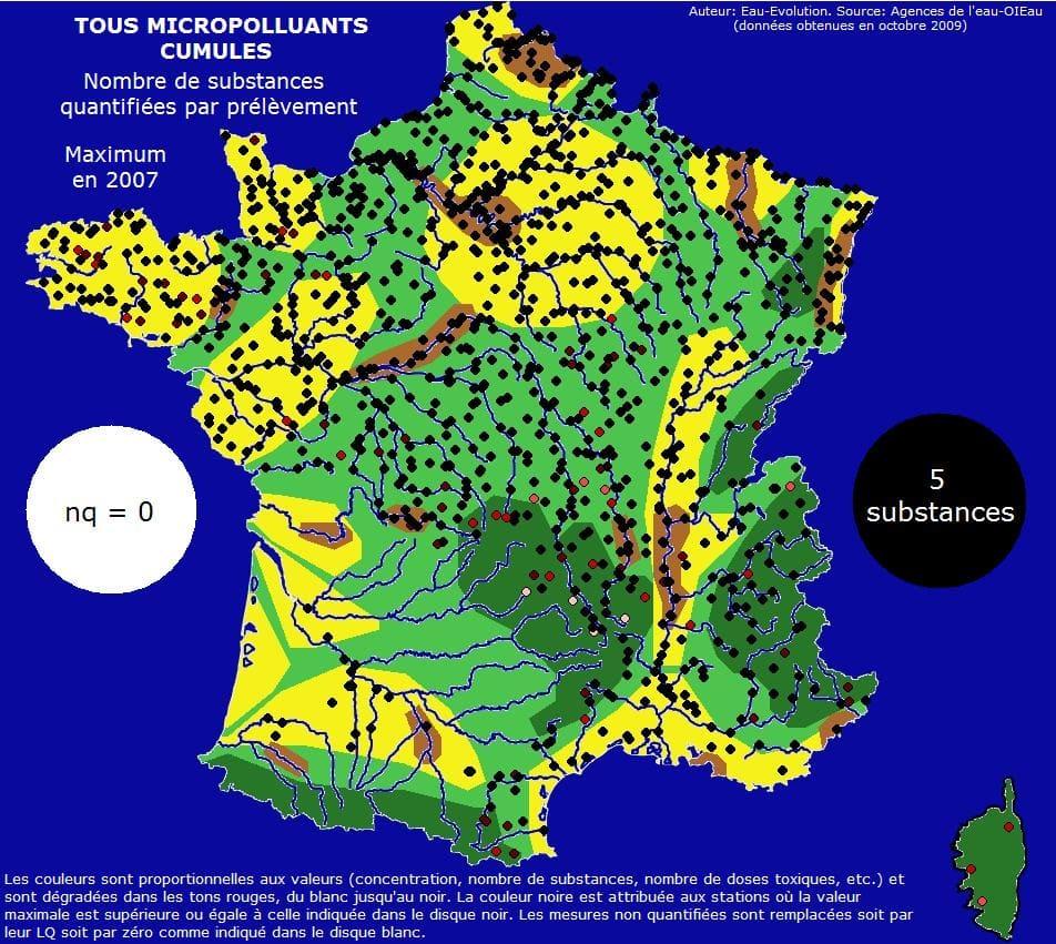 Pollution de l'eau en France: présence de micropolluants.