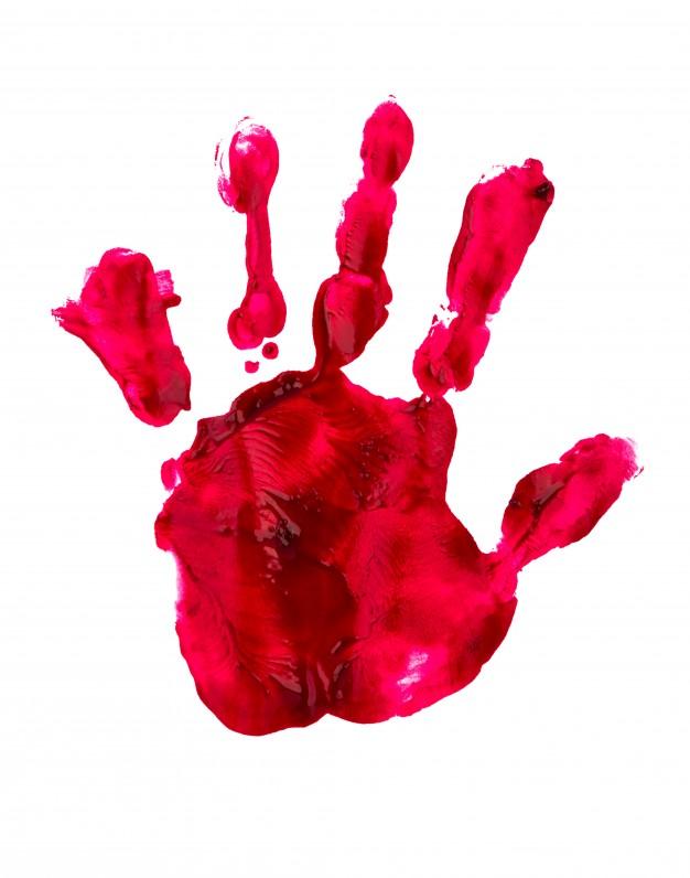 Main rouge dessinée; régime groupe sanguin pour les enfants