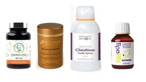 Photo de différents produits de glutathion