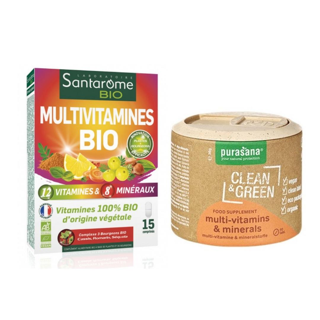 Photo des deux multivitamines bio et naturels du test et avis.