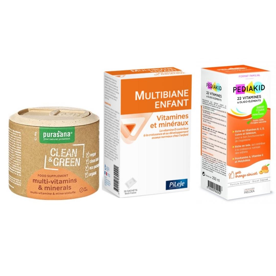 différents produits à base de vitamines pour enfant