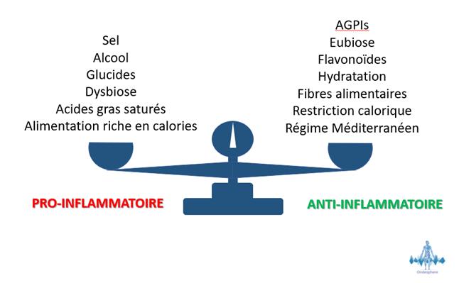 Schéma représentant le lien entre l'inflammation et certains aliments.