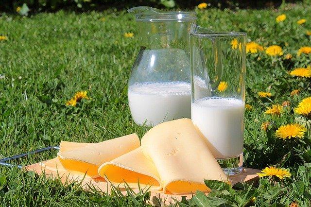 Fromages et verre de lait : aliments riches en calcium.