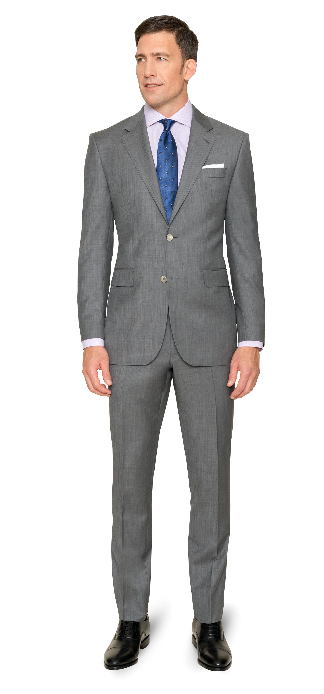 Business-Einsteiger-Box 1: Mittelgrauer Anzug / weißes + blaues Hemd