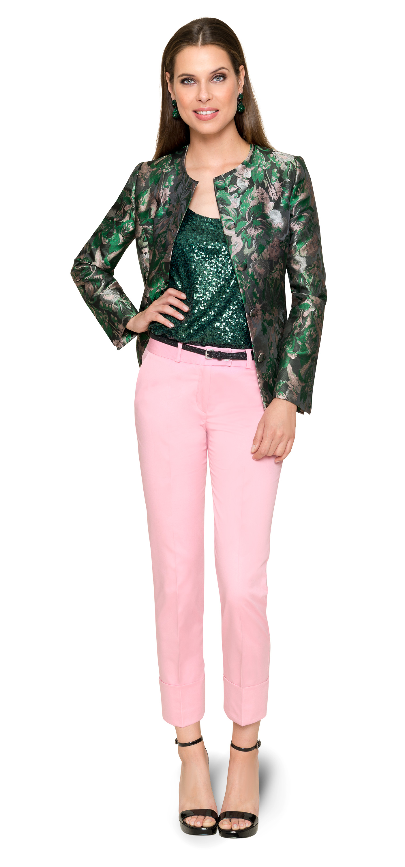 Alle Zeichen auf Grün – trendiger Blazer nach Maß mit floralem Allover-Print
