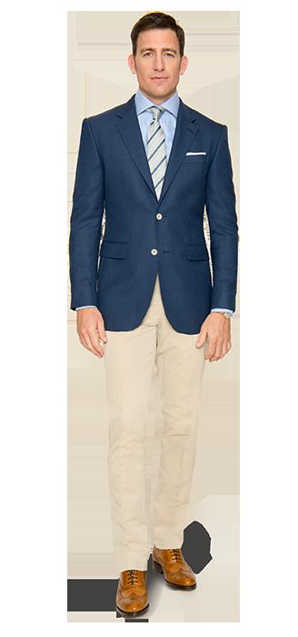 Eine gute Wahl – Sacco und Hose nach Maß in der Kombination Blau und Beige