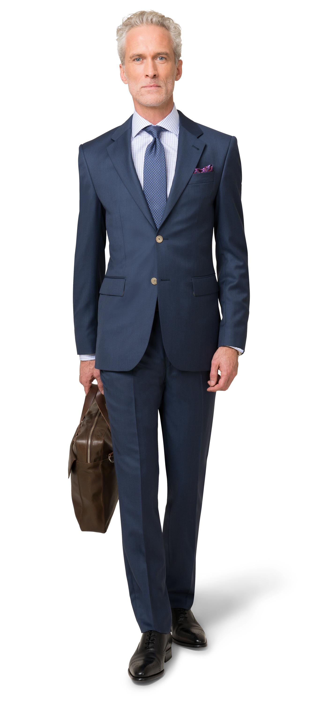 Business-Einsteiger-Box 2: Dunkelblauer Anzug / weißes + blaues Hemd