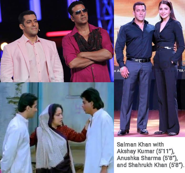 Salman Khan standing with Akshay Kumar Anushka Sharma