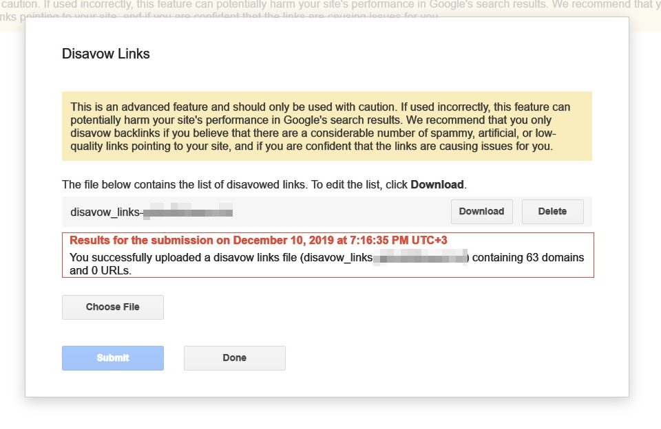 Uploading your Disavow file to prevent Negative SEO