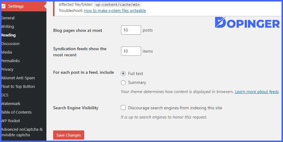WordPress visibility