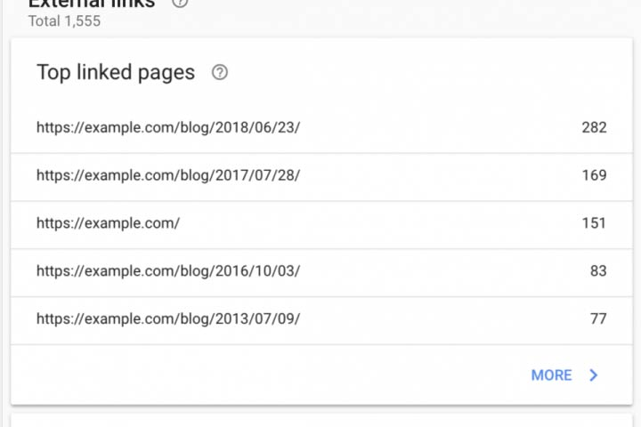 "Google Search Console, ""Links"" section"