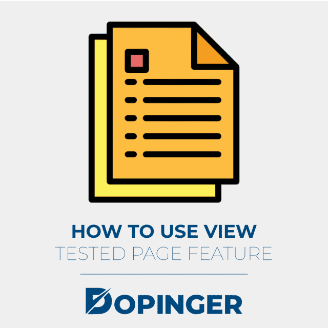 How to Use View Tested Page Feature
