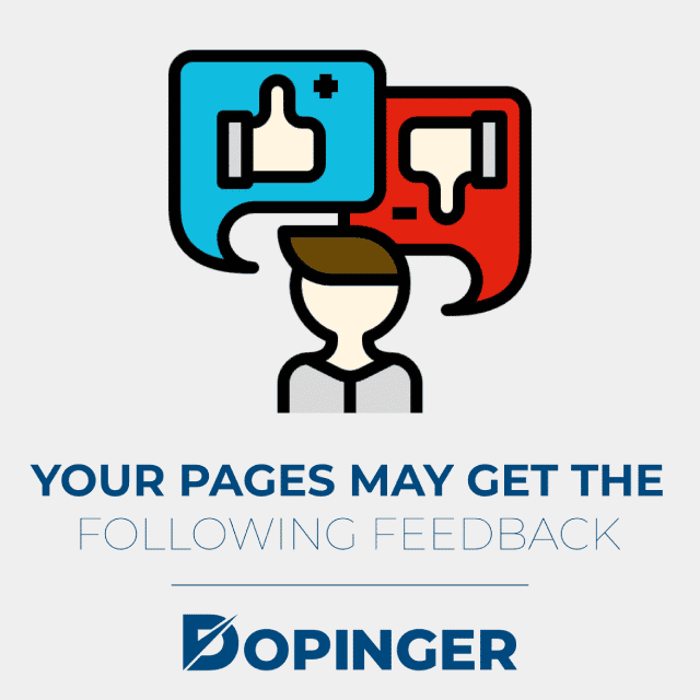 your pages may get the following feedback