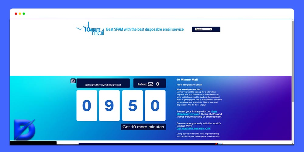 10minutemail disposable email service