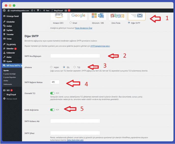 SMTP mail ayarları