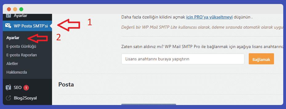 SMTP kurulum ve ayarları
