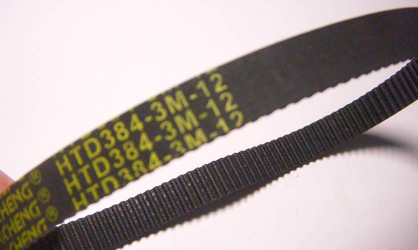 Зубчатый ремень HTD384-3M-12 шириной 12 мм на электростанок