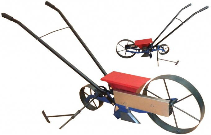 Ручна механическая колесная сеялка для домашних культур